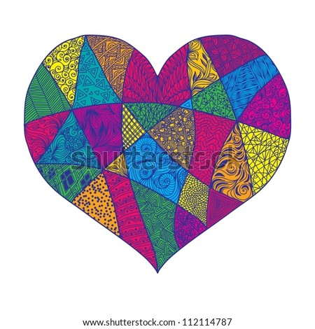 Vector heart with abstract ornament. Heart design element background for cute cards on Valentine's Day. Heart love concept. - stock vector