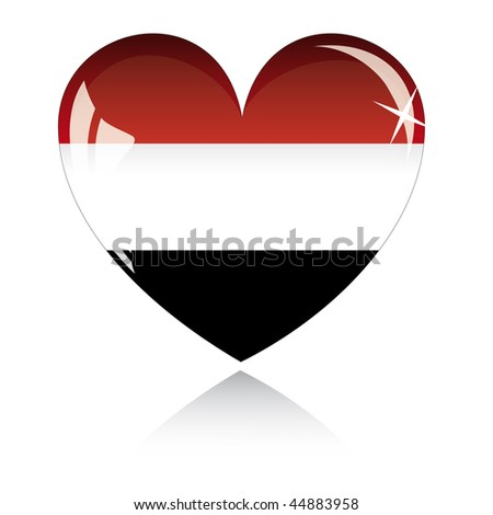Vector heart with Egypt flag texture isolated on a white background. - stock vector