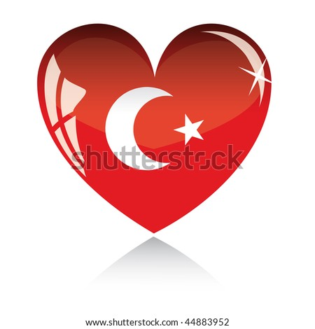 Vector heart with Turkey flag texture isolated on a white background. - stock vector
