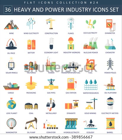 Vector heavy and power industry color flat icon set. Elegant style. Heavy power industry icons, Heavy power industry icons illustration, Heavy power industry set, Heavy industry color flat icons - stock vector