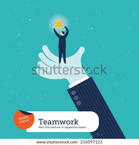 Vector helping hand with man and star. Vector illustration Eps10 file. Global colors. Text and Texture in separate layers. - stock vector