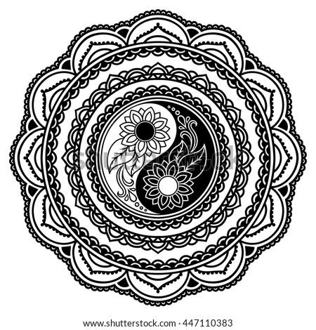 Vector henna tatoo mandala. Yin-yang decorative symbol. Mehndi style. - stock vector