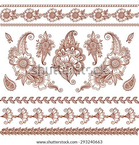 Vector henna tattoo mehndi flowers  set - stock vector