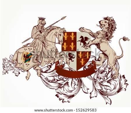 Vector heraldic illustration in vintage style with shield, armor, crown, knight and lions for design - stock vector