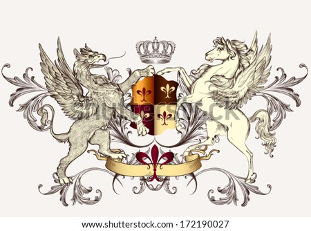 Vector heraldic illustration in vintage style with shield, griffin, crown and winged horse for design - stock vector