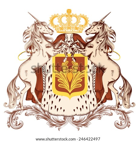 Vector heraldic illustration in vintage style with shield, unicorns and crown - stock vector