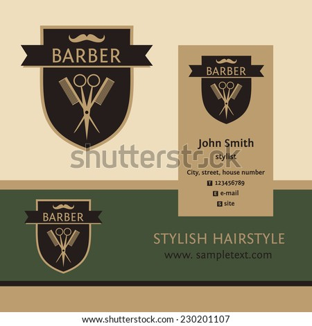 Vector heraldic logo for a hairdressing salon. Business card and banner. Template for corporate style barbershop. Status and elegance. Mustache - stock vector