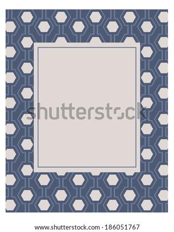 Vector Hexagon Frame and Invitation Template - stock vector