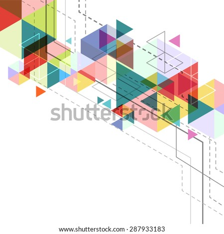 vector hexagon geometry, abstract polygon background, triangle poster design - stock vector