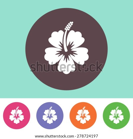Vector hibiscus flower icon on round colorful buttons - stock vector
