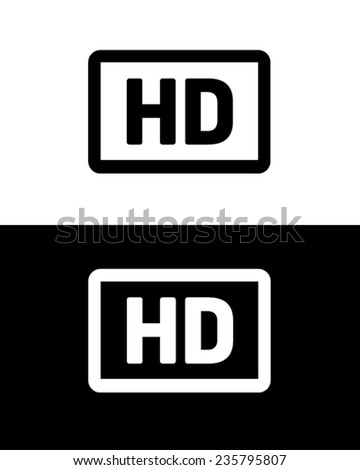 Vector high definition (HD) Icon in black and reverse - stock vector