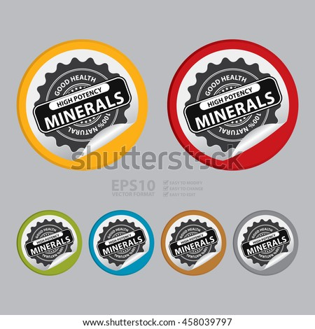 Vector : High Potency Minerals Good Health 100% Natural Infographics Icon on Circle Peeling Sticker - stock vector
