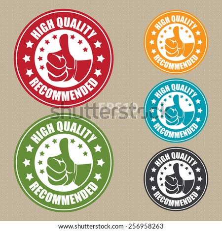 vector : high quality recommended sticker, badge, icon, stamp, label, banner, sign - stock vector
