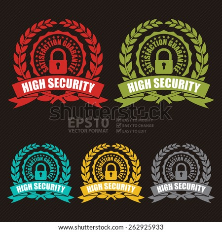 Vector : High Security Satisfaction Guarantee Wheat Laurel Wreath, Ribbon, Badge, Label, Sticker, Sign or Icon - stock vector