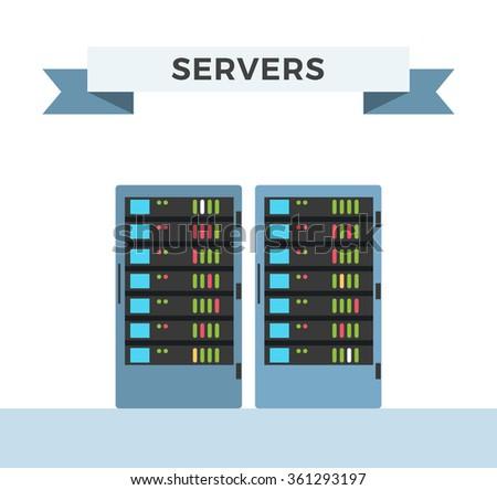 Vector high tech internet data center server - stock vector