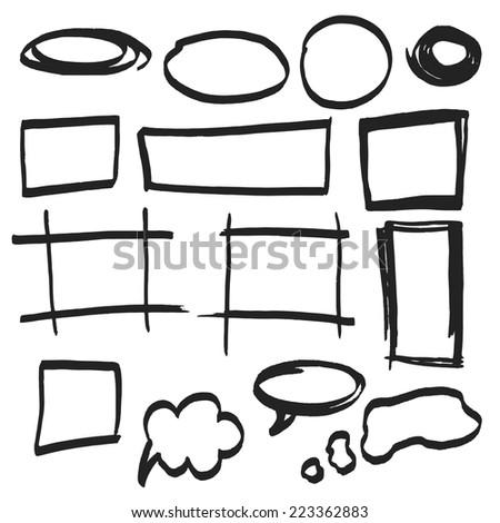 Vector highlighter elements - hand drawn frames, black - stock vector
