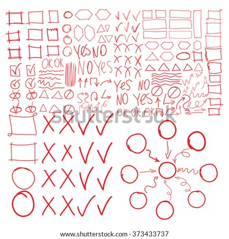 Vector highlighter elements, imitation of hand drawing, circles, frames and arrows, square and rectangles borders, check, correction, cross, tick symbols. Diagram or flowchart, mind mapping. - stock vector