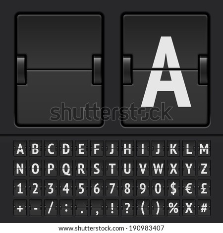 Vector highly detailed mechanical scoreboard alphabet with numbers - stock vector