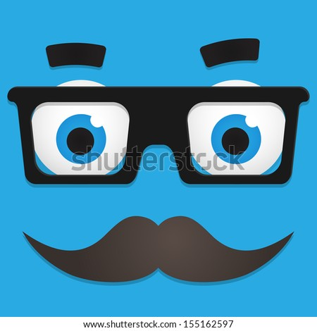Vector Hipster Avatar with Geek Glasses And Mustache - stock vector