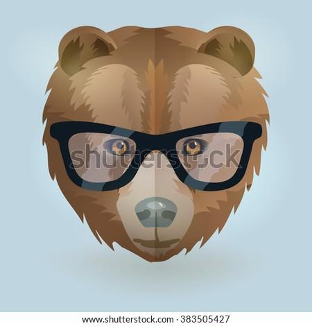 Vector hipster bear portrait - stock vector