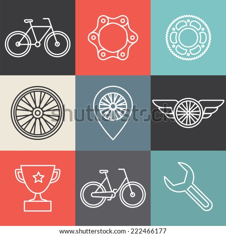 Vector hipster bicycle logo templates - set of outline icons - stock vector