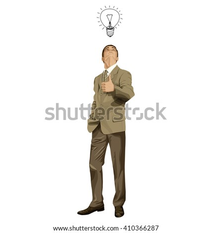 Vector hipster business man shows well done, looking up, looking for idea,  - stock vector