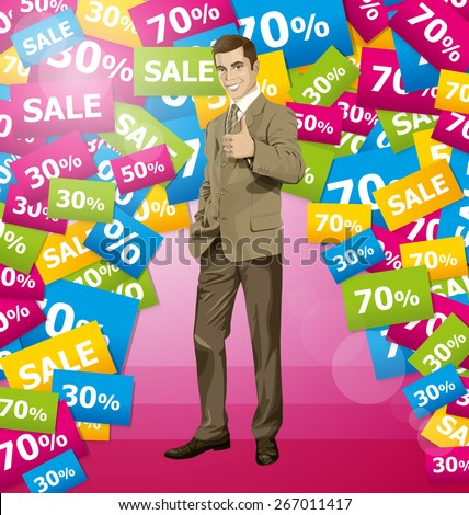 Vector hipster business man shows well done on sale - stock vector
