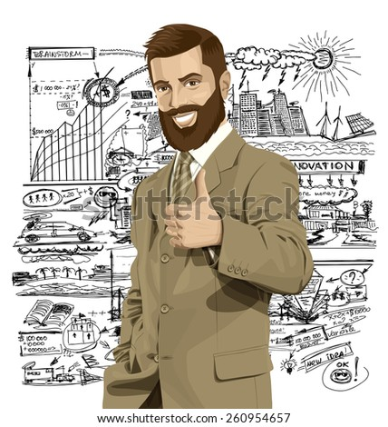 Vector hipster business man with beard shows well done  - stock vector