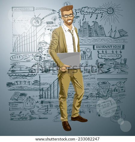 Vector hipster business man with laptop in his hands - stock vector