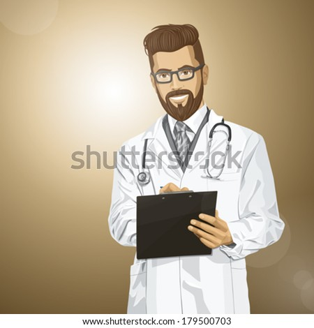 Vector hipster doctor man writing something with marker on clipboard - stock vector