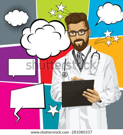 Vector hipster doctor man writing something with marker on clipboard, with speech and thought bubbles - stock vector