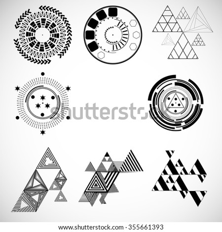 Vector Hipster Geometry . Geometry Triangle Set . Geometry Pattern Background . Abstract Geometry Shapes . Geometry Elements . Modern Geometry Circle Design Template . - stock vector
