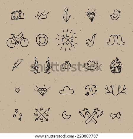 Vector hipster icon set on a brown cardboard, black outline hand drawn objects: camera, mustaches, bicycle,  diamond, bird, antler, hat, hatchet, cloud, anchor - stock vector