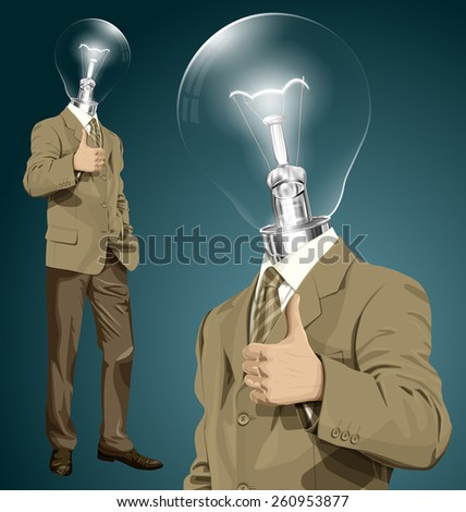 Vector hipster lamp head business man have an idea and shows well done  - stock vector