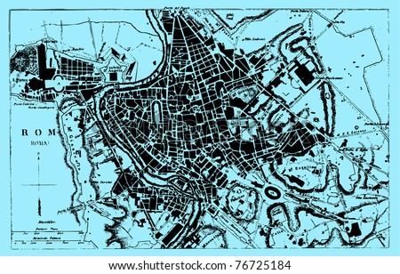 Vector Historical map of Rome, Italy, from atlas published in 1851 (The iconographic encyclopedia of science, literature and art). Other vector maps in my portfolio. - stock vector