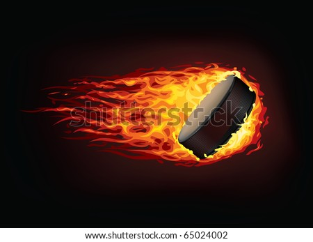 Vector hockey puck in fire. Illustration of the vector hockey puck enveloped in flames isolated on black background. Hockey puck in fire image for a hockey game poster or banner. - stock vector
