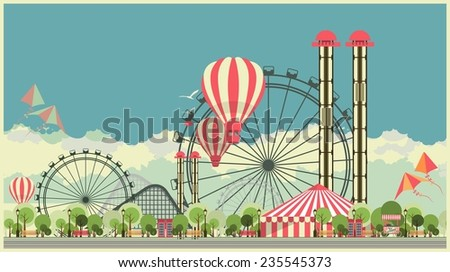 Vector holiday background with carnival and amusement park - stock vector