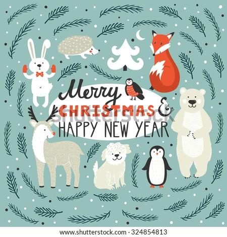 Vector holiday background with cute animals: fox, deer, penguin, rabbit, polar bear, urchin, dog, bullfinch. Christmas card with hand written text Merry Christmas and happy New Year. Winter background - stock vector