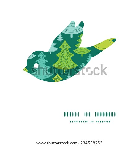 Vector holiday christmas trees bird silhouette pattern frame - stock vector