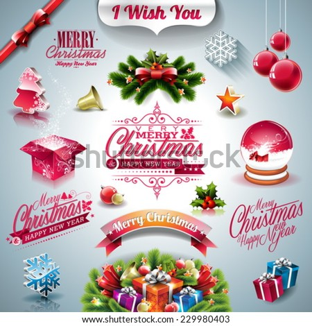 Vector Holiday collection for a Christmas theme with 3d elements on clear background. EPS 10 illustration. - stock vector