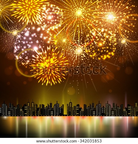 Vector holiday firework and night city - stock vector