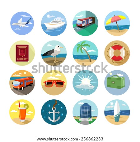 Vector holiday flat icon set - stock vector