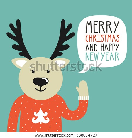 """Vector holiday illustration of a cute deer in a sweater saying """"Merry Christmas and happy New Year"""". Christmas background with smiling cartoon character. Winter greeting card. - stock vector"""