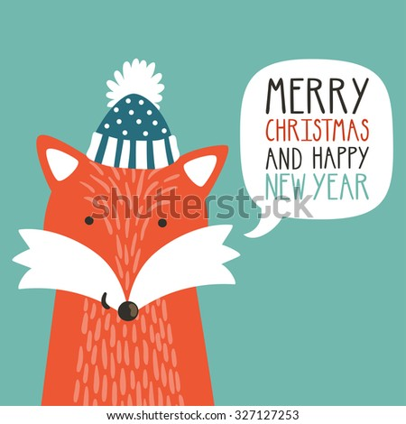 "Vector holiday illustration of a cute fox in a hat saying ""Merry Christmas and happy New Year"". Christmas background with smiling cartoon character. Winter greeting card. - stock vector"