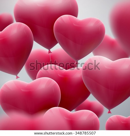 vector holiday illustration of flying bunch of pink balloon hearts. Happy Valentines Day - stock vector