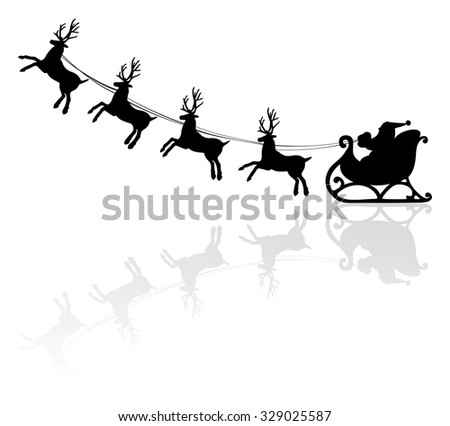 vector holiday illustration of santa and deers - stock vector