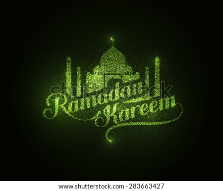 vector holiday illustration of shiny Ramadan Kareem label. lettering composition of muslim holy month with mosque building and sparkles - stock vector