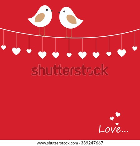 Vector holiday illustration on theme of Valentine's day with a pair of love birds - stock vector