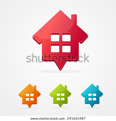 Vector home icon pin set isolated on white . - stock vector