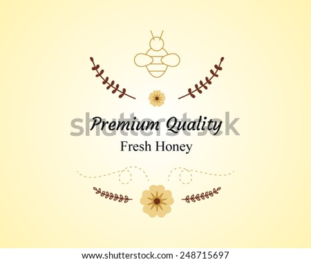 Vector Honey Bee Labels And Symbols On Honey Jar And Wooden Stick Image Background - stock vector